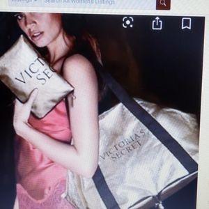 Victoria's Secret Gold fold up tote